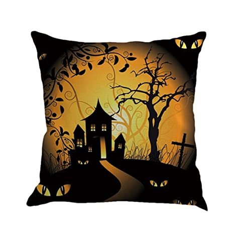 Gotd Vintage Halloween Pillow Covers Decorations Throw Pillow Case Cushion Happy Halloween Decor Clearance Indoor Outdoor Festive Party Supplies