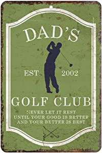 Pattern Pop Personalized Vintage Distressed Look Mens Golf Club Metal Room Sign