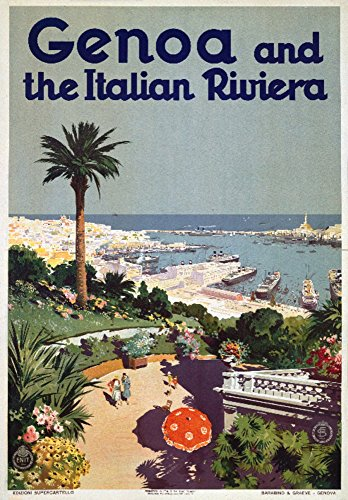 Genoa and the Italian Riviera Vintage Poster Italy c. 1931 (16x24 SIGNED Print Master Giclee Print w/Certificate of Authenticity - Wall Decor Travel Poster)