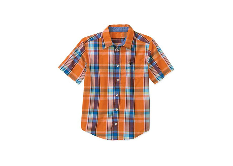 Wrangler Boys Short Sleeve Orange Blue Yellow Plaid Shirt
