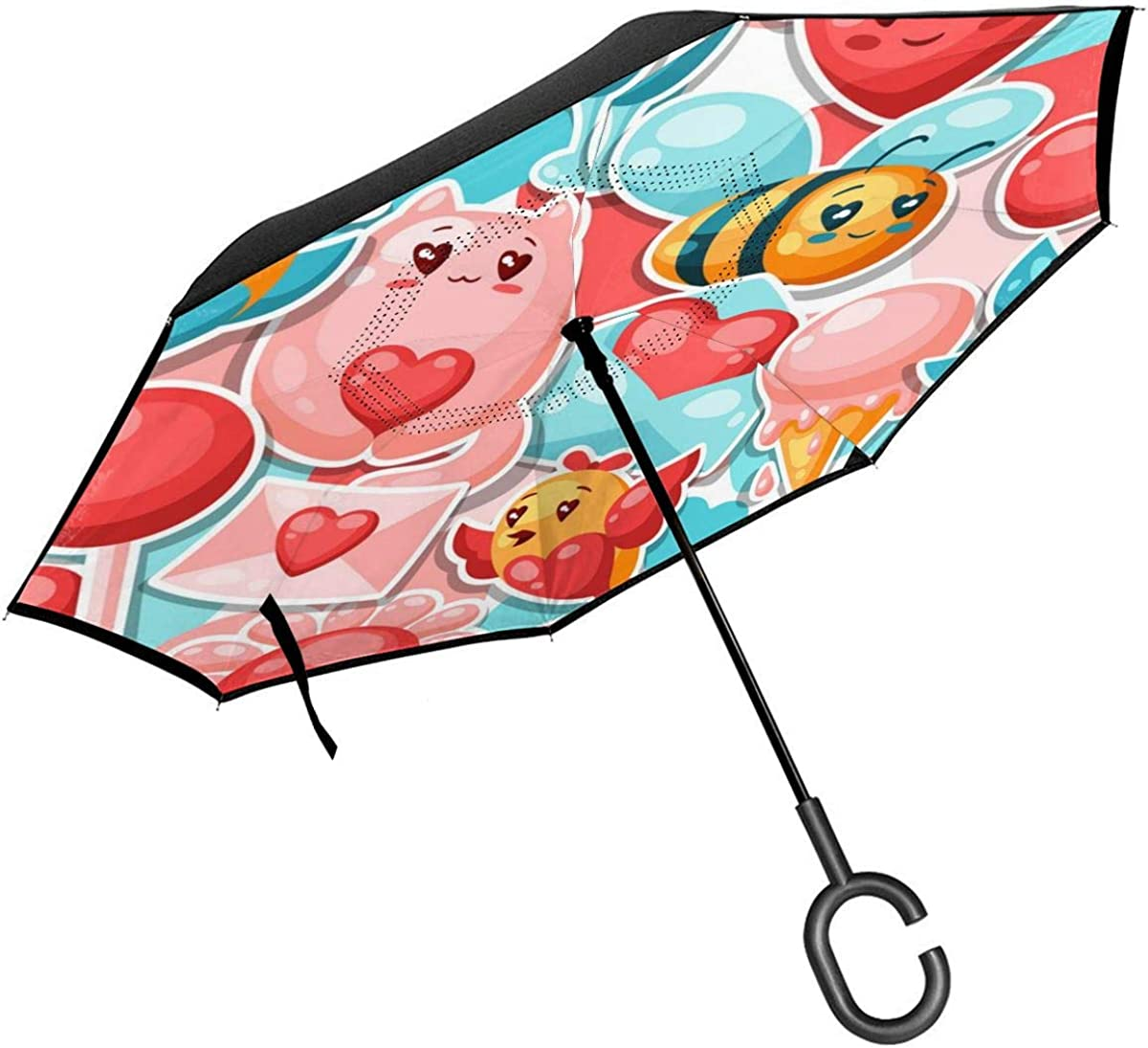 Happy Valentine Day Seamless Pattern Reverse Umbrella Double Layer Inverted Umbrellas For Car Rain Outdoor With C-Shaped Handle Personalized