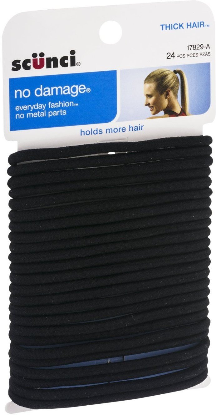 Scunci Effortless Beauty No-damage Black Elastics, Thick Hair 24 ea (Pack of 12) by Scunci