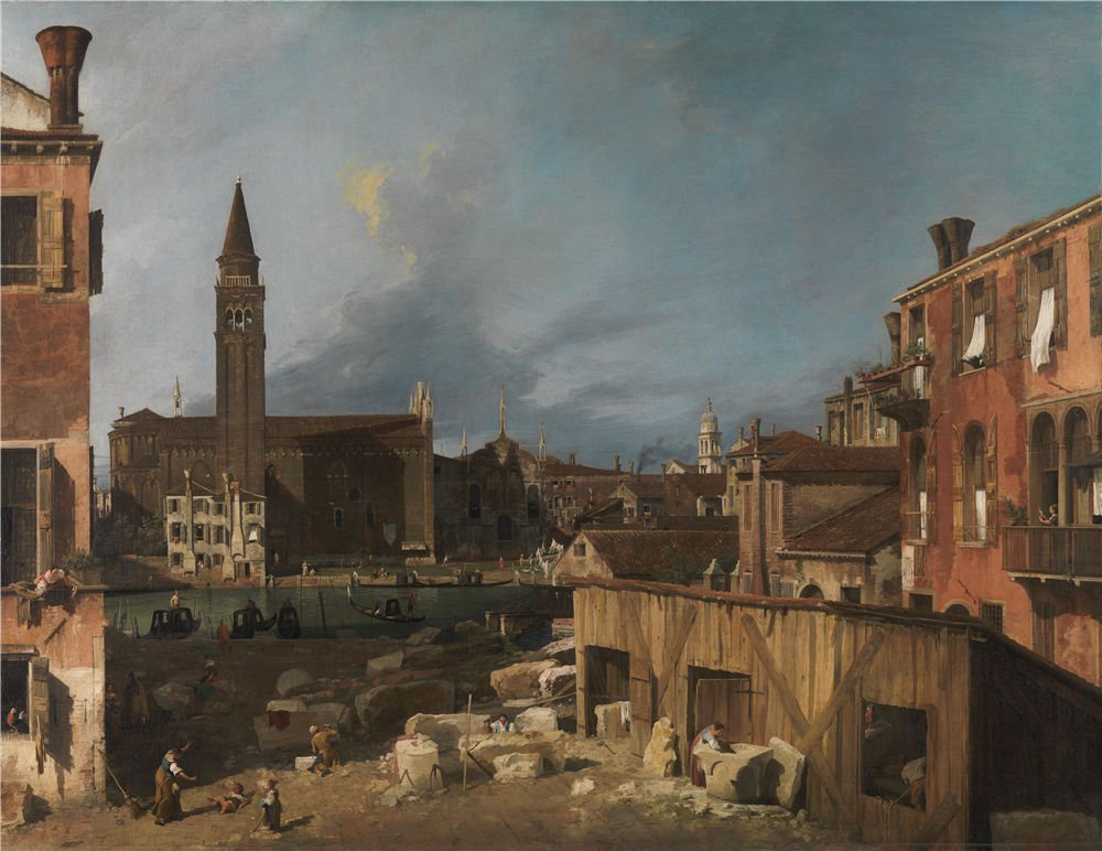 MIGAGA Oil Painting 'Canaletto The Stonemason's Yard ' Printing On Perfect Effect Canvas, 24 X 31 Inch