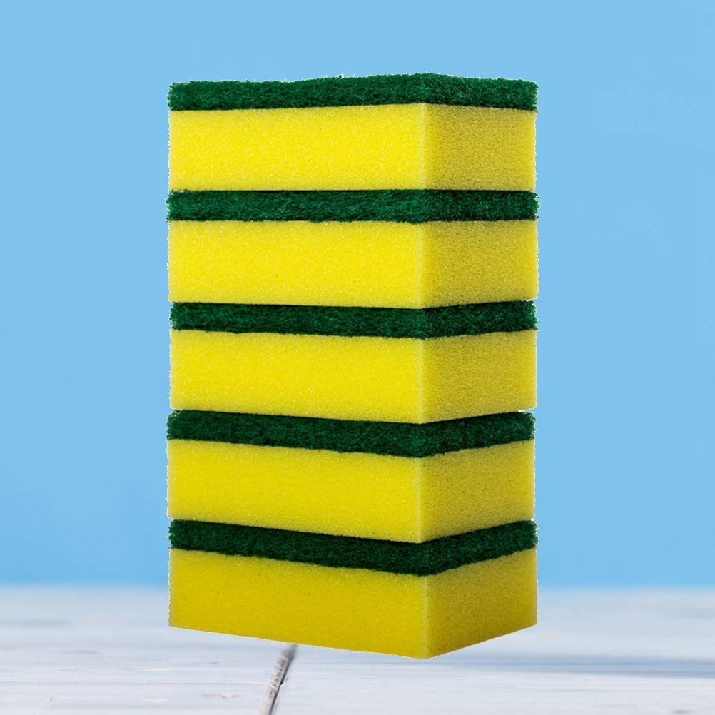 BESTONZON 20pcs spugna pagliette lavastoviglie lavaggio spugna da cucina pulizia nano cottoni lavare pentole spazzole giallo + verde