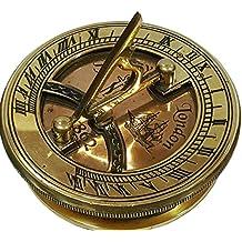 Global Art World Navigational Marine Décor Antique Copper Nautical Brass Popat Sundial Compass Sun Clock SC 059