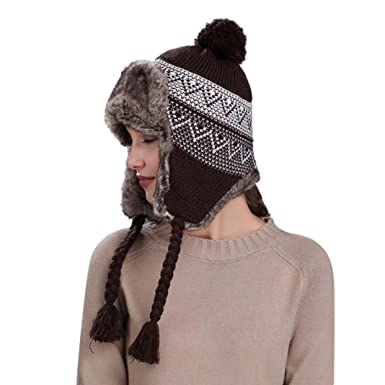 Momola Women Beanie Hat Warm Winter Hat with Braid Ear Flaps Snow Ski Thick  Knit Wool dac13e22ac