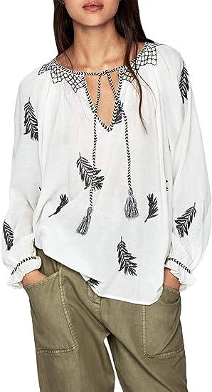 Pepe Jeans Blusa Lisa Blanco Mujer XL: Amazon.es: Ropa y accesorios