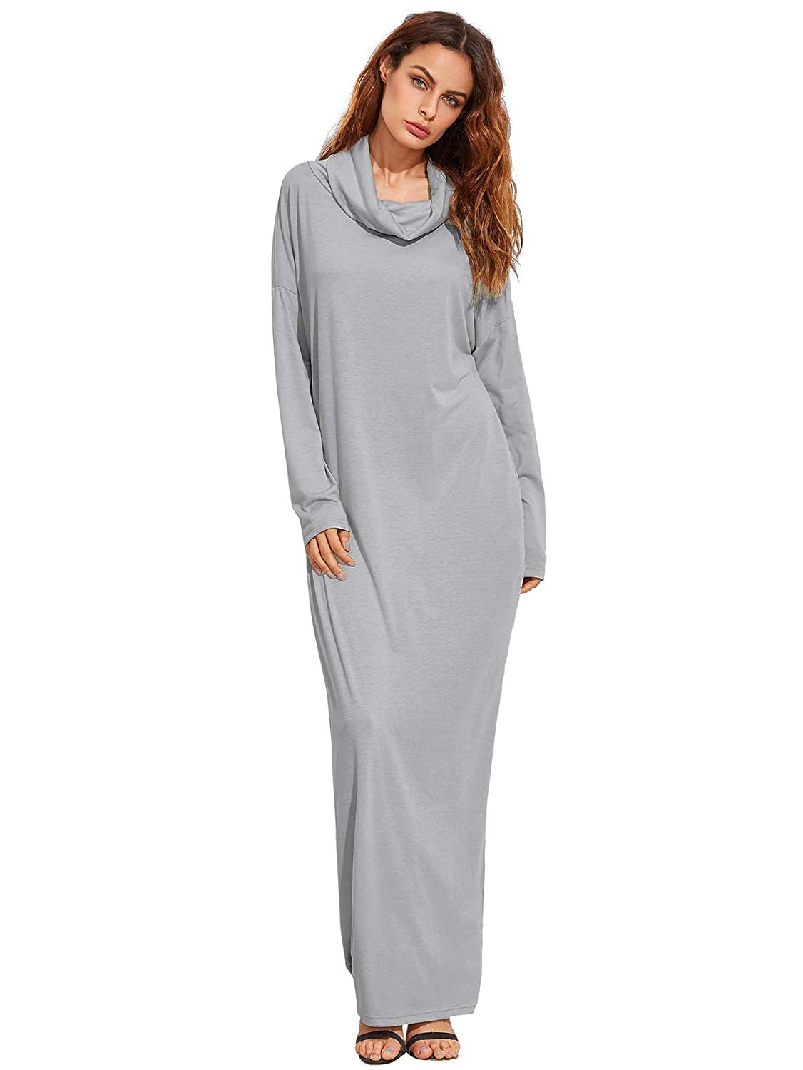 b92ba79af28 Verdusa Women's Casual Long Sleeve Cowl Neck Loose Pocket Shift Long Maxi  Dress Light Gray XS at Amazon Women's Clothing store: