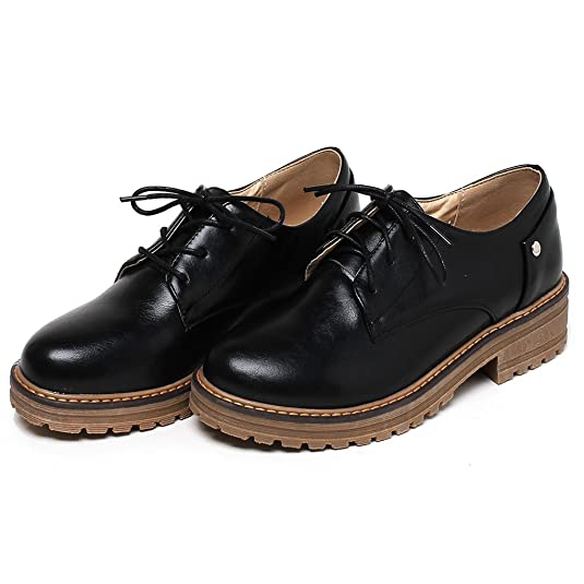 Ladies Leisure Smooth Leather Comfortable Flat Lace up Brogue Shoes Kaloosh ciCG6