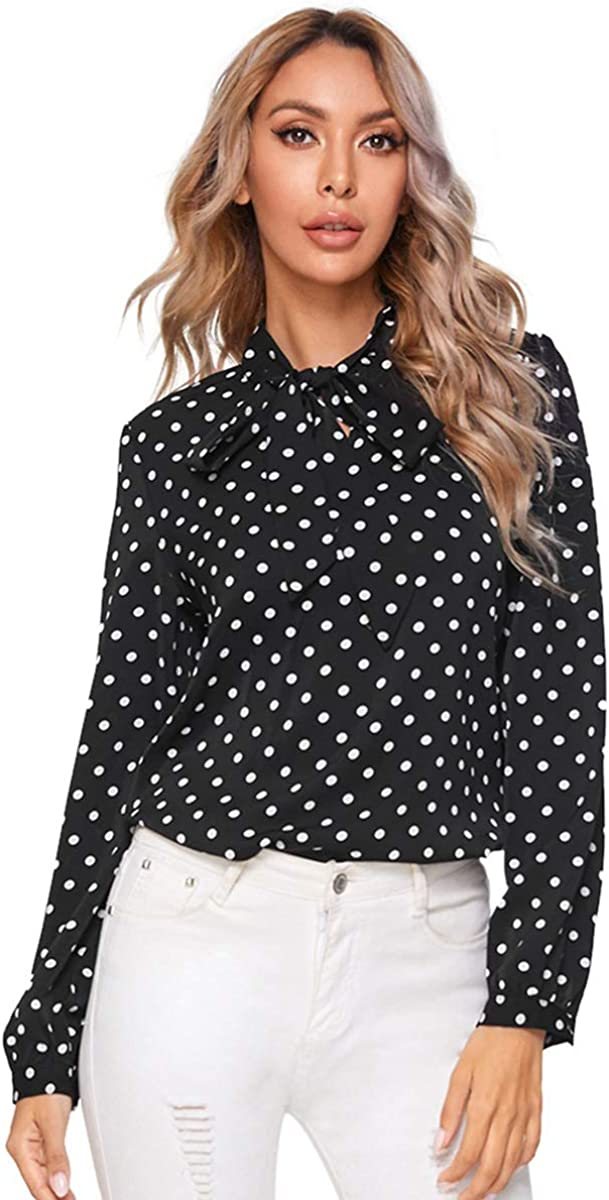Romwe Women's Bow Tie Neck Long Sleeve Casual Office Work Chiffon Blouse Shirts Tops