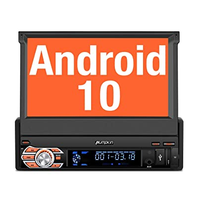 PUMPKIN Android 10 Single Din Car Stereo with GPS, WiFi, Built-in DSP, Support Backup Camera, Android Auto, SD/USB, 7 Inch Flip Out Touch Screen: GPS & Navigation