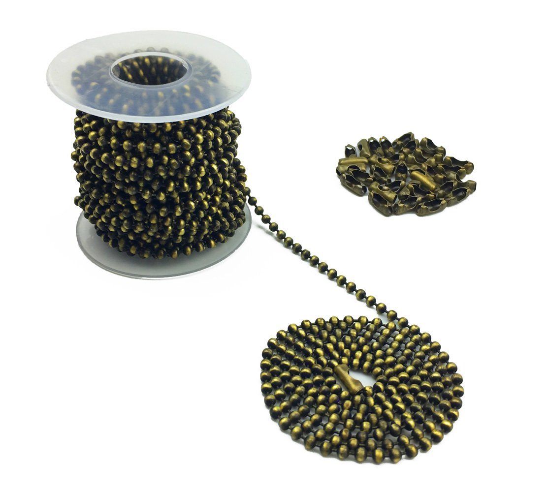 Hyamass 10 Yards 3mm Diameter Bronze Beaded Pull Chain Extension Ceiling Light Fan Chain with 30 Matching Connectors, Rolled Packing