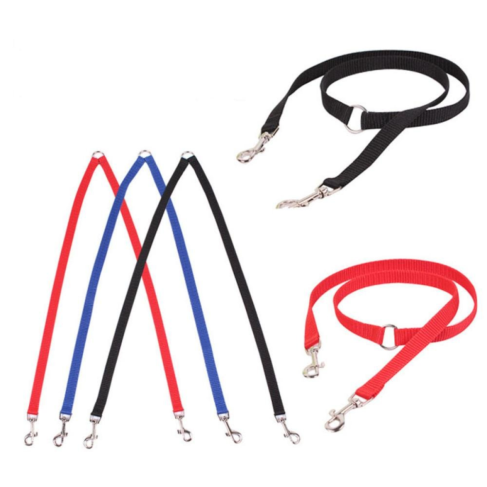 Letdown Double Dog Twin Strong Multicolor Lead Two Pet Dogs Walking Leash (Black)