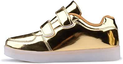 Niños Niñas Zapatillas LED Zapatos con Luces 7 Colores USB Carga Luces Luminosos Zapatos de Deporte Sneakers