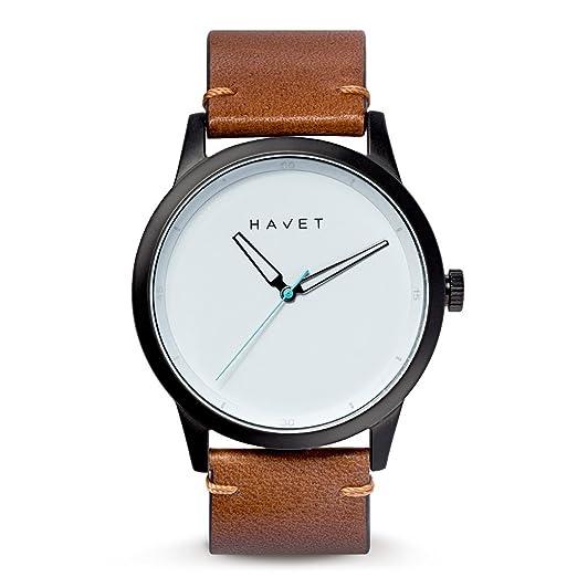 HAVET | Reloj de hombre Bell Rock de acero color negro y correa piel marrón: Amazon.es: Relojes