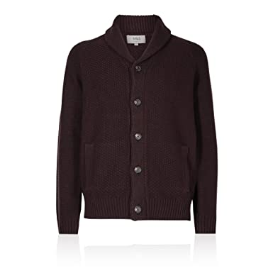 Mens Ex M/&S Textured Button Through Shawl Chunky neck Long sleeve Cardigan