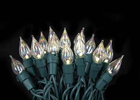 set of 50 warm white twinkle flame tip glass bulb c5 mini christmas lights green - C5 Christmas Lights