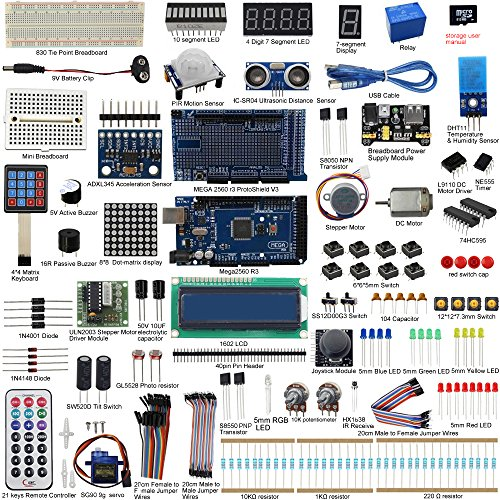 (UCTRONICS Mega 2560 Complete Ultimate Starter Kit for Arduino w/Tutorial in TF Card, MEGA 2560 Development Board, LCD1602, Servo, Stepper Motor, Joystick, 21 Keys Remote Controller, PIR Motion Sensor)