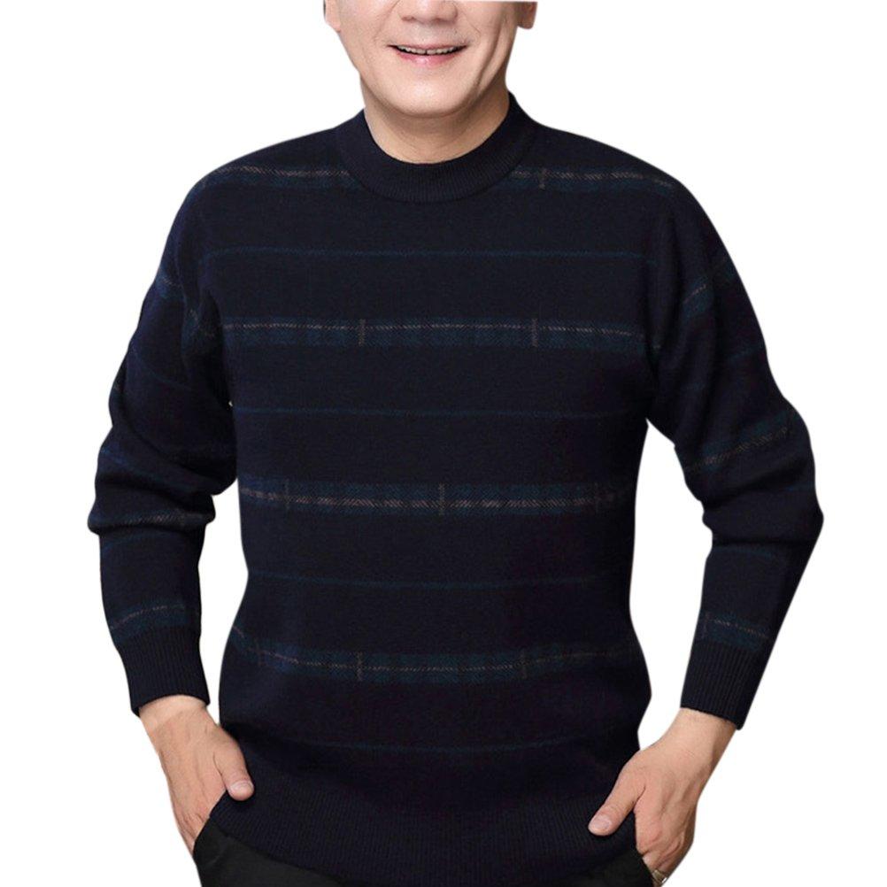 Zhhlinyuan suéter para Hombre Mens Mens Winter Stripe Soft ...