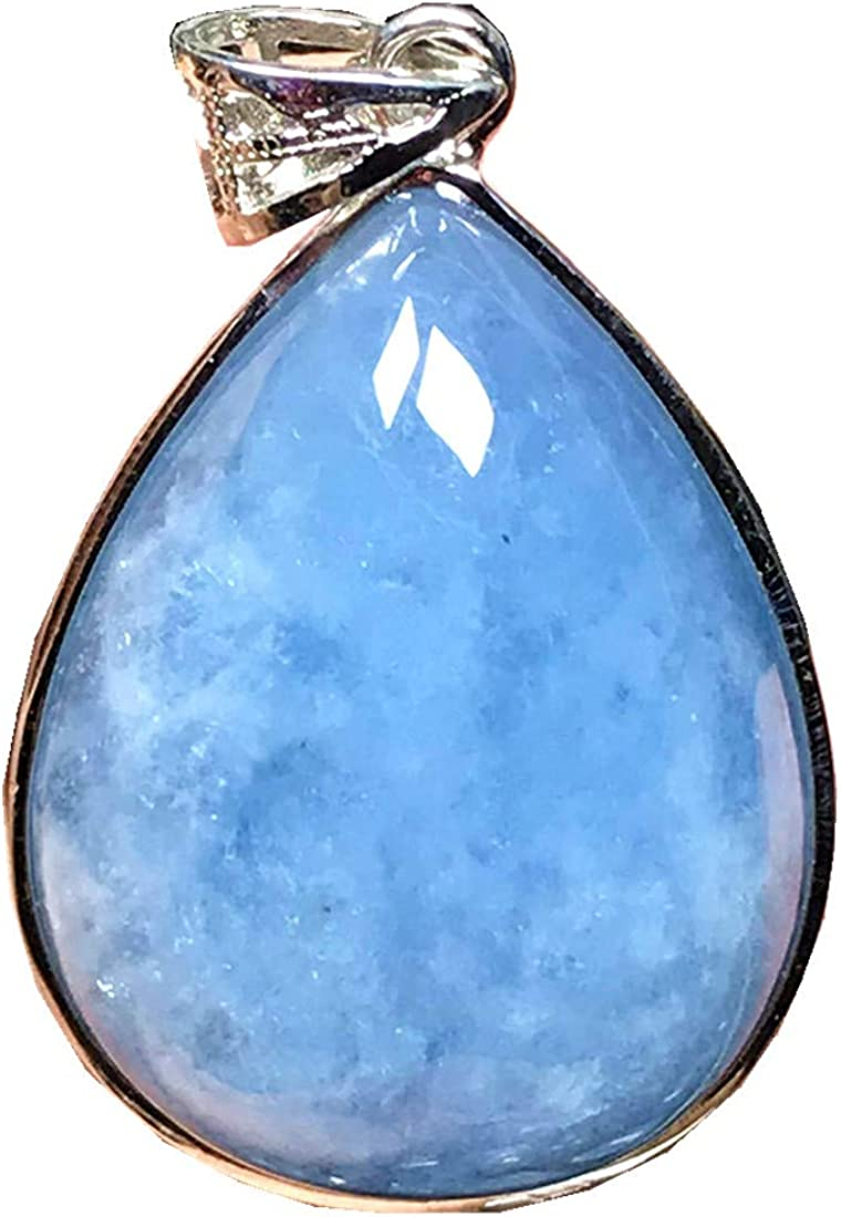DUOVEKT - Colgante de aguamarina de plata de ley, color azul océano natural, piedra de aguamarina para mujeres, hombres, piedras de cristal de 30 x 23 x 10 mm, cuentas AAAAA