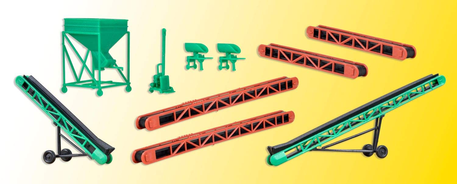 H0 Accessories set with conveyor belts and silo