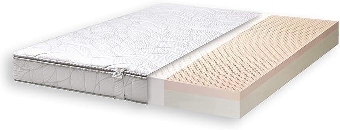 Primo Line Memory Lux Colchón de Látex 120x200 cm Firmeza Media H2 Altura 20 cm 7 Zonas de Soporte Viscoelastico con Funda Extraíble