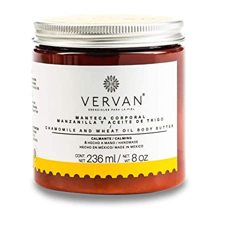 Vervan Sensitive Skin Body Butter Lotion, Natural Chamomile Wheat Oil, 24 Hours Moisturizing for Body Care, Facial Skin Care with Vitamin E, Hand Moisturizer Fast Absorption NO Greasy Feeling 8 Oz