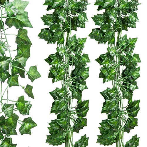 Molliy 24pcs 6.8ft Ivy Garland Fake Ivy Leaves Artificial Ivy Greenery Garland Hanging Vine for Wedding Party Garden Outdoor Office Wall Decoration Poison Ivy Costume]()