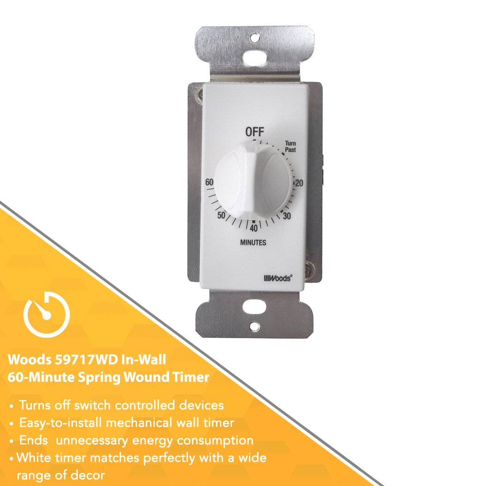 Woods 59717WD 60-Minute Decora Style Timer Mechanical Wall Switch (White) by Woods (Image #4)