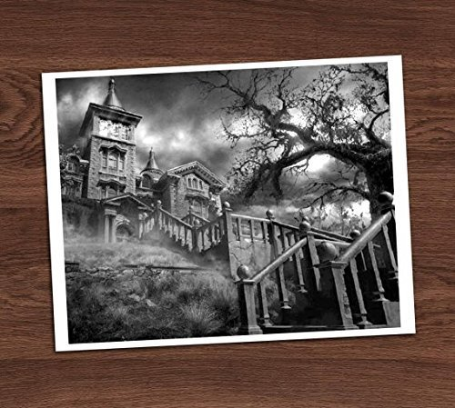 Creepy Haunted House Mansion on a Hill Black White Vintage Photo Art Print 8x10 Wall Spooky Halloween Decor