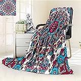 AmaPark Digital Printing Blanket India Henna Style CirclesRetro Kaleidoscope Hot Pink and Light Pink Summer Quilt Comforter