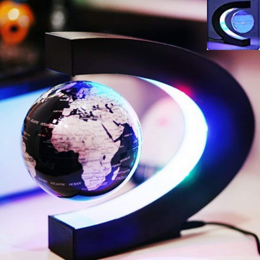 HONEWIN C Shape Decoration Magnetic Levitation Floating Globe World Map