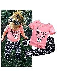Newborn Infant Baby Kids Girls T-shirt Tops Long Pants Outfit Clothes Set