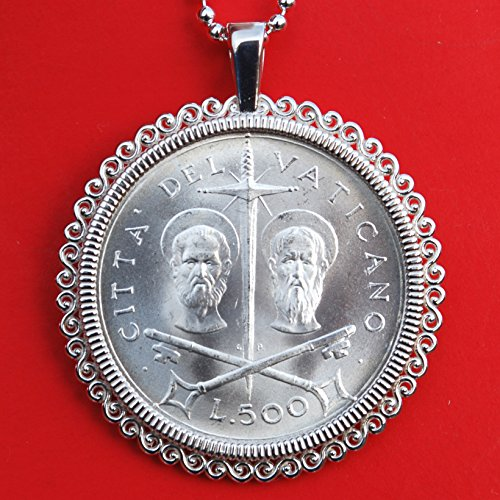 1967 Vatican 500 Lire BU Uncirculated 83.5% Silver Coin 925 Sterling Silver Necklace NEW - Saint Peter and Paul