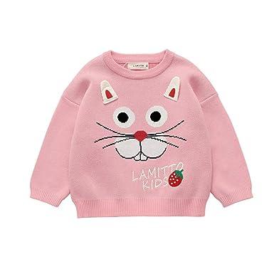 Wang-RX Ropa de otoño Invierno para niñas niños Encantador suéter ...