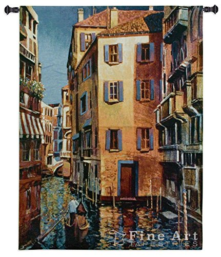 (Venetian Light by Michael O'Toole - Woven Tapestry Wall Art Hanging for Home & Office Decor - Cityscape of Romantic Venice Featuring with Gondolas and Water Canals-100% Cotton - USA 53X40)