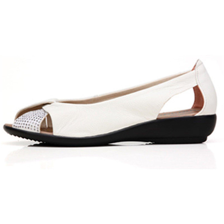 New Summer Women Shoes Woman Genuine Leather Platform Sandals Open Toe Mother Wedges Casual Sandals Women Sandals B07CVCW955 9 B(M) US|White