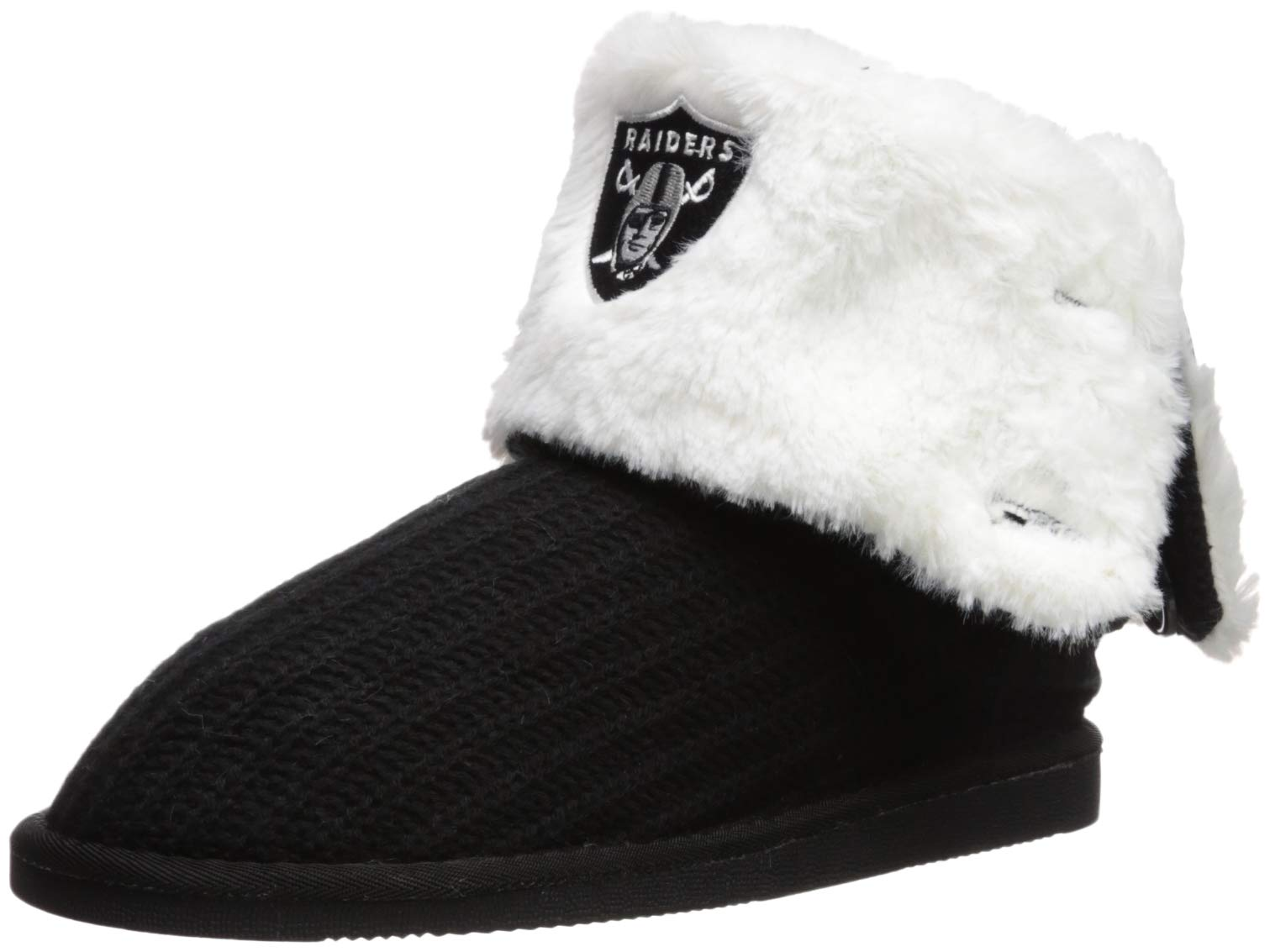 Oakland Raiders Knit High End Button Boot Slipper Large