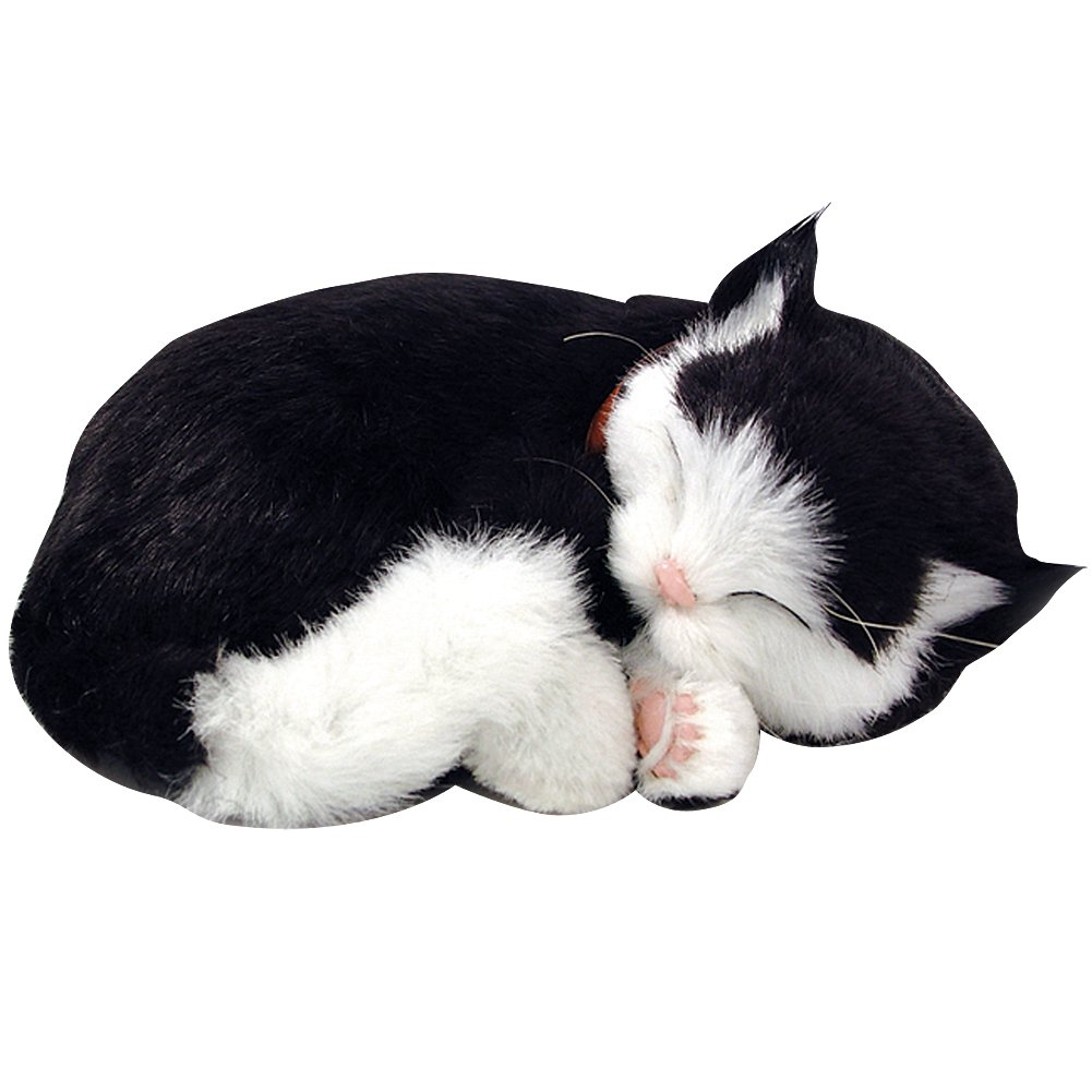 Perfect Petzzz Huggable Breathing Kitty Cat Pet Black White Shorthair