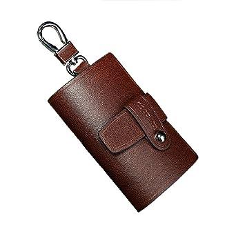 Llavero tipo cartera, 7 ganchos y uno aparte para llave de coche, compartimentos con cremallera, piel de serraje, marrón (marrón) - ZLGJK02: Amazon.es: ...
