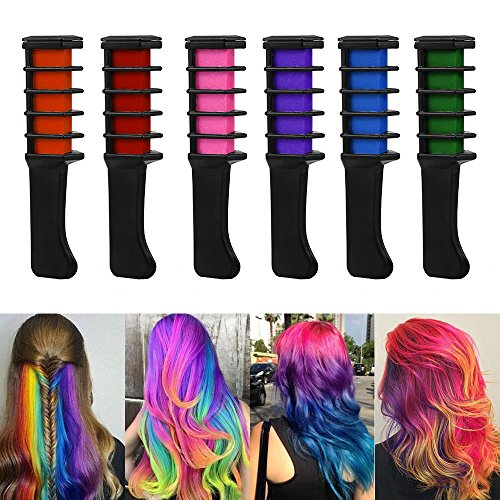 WAHUK 6 pcs Color Hair Chalk Comb Shimmer Hair Dye Chalk Comb Temporary Hair Color Cream Natural Hair Chalk for Halloween Christmas Party Supplies (Free hair elastic, disposable gloves and shawl)