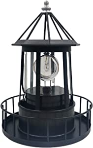 CALIDAKA LED Solar Powered Lighthouse,360 Degree Rotating Lamp Waterproof Statue Rotating Lights Solar Hanging Lamp Solar Garden Lights Lawn Lantern for Garden Yard Outdoor Decor