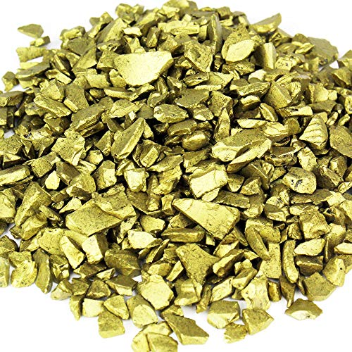 CYS EXCEL Glass Vase Fillers, Glass Gravel, Crushed Stone, Stone Gem for Centerpieces, (Glass Gravel Gold)-Diameter 0.3 inch, Approx 5000 Pieces, 2LBS ()