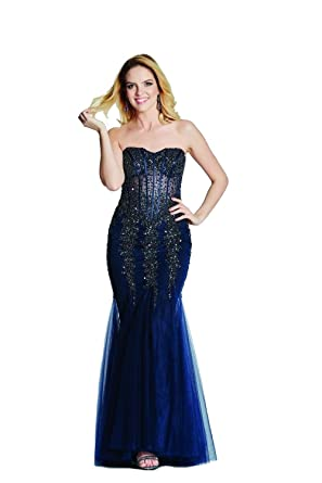 Tiffanys Illusion Prom Navy Eliza Strapless Sweetheart Prom Dress: Amazon.co.uk: Clothing