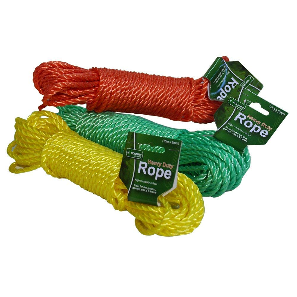 Kingfisher 15 Metre Polypropylene Rope Garden Washing Line - Assorted Colours Red/Green/Yellow King Fisher GSROPE