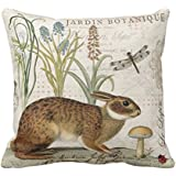 Happy Easter Cute Bunny Mushroom Dragonfly Color Eggs Cotton Linen Throw Pillow Case Personalized Cushion Cover NEW Home Office Indoor Decorative Square 18 X 18 Inches