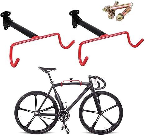 Soporte de bicicleta 2 piezas Gancho de bicicleta de montaje en pared Soporte bicicleta plegable horizontal Almacenamiento de bicicleta de garaje Alzamiento de bicicleta Tornillos de alta resistencia: Amazon.es: Deportes y aire