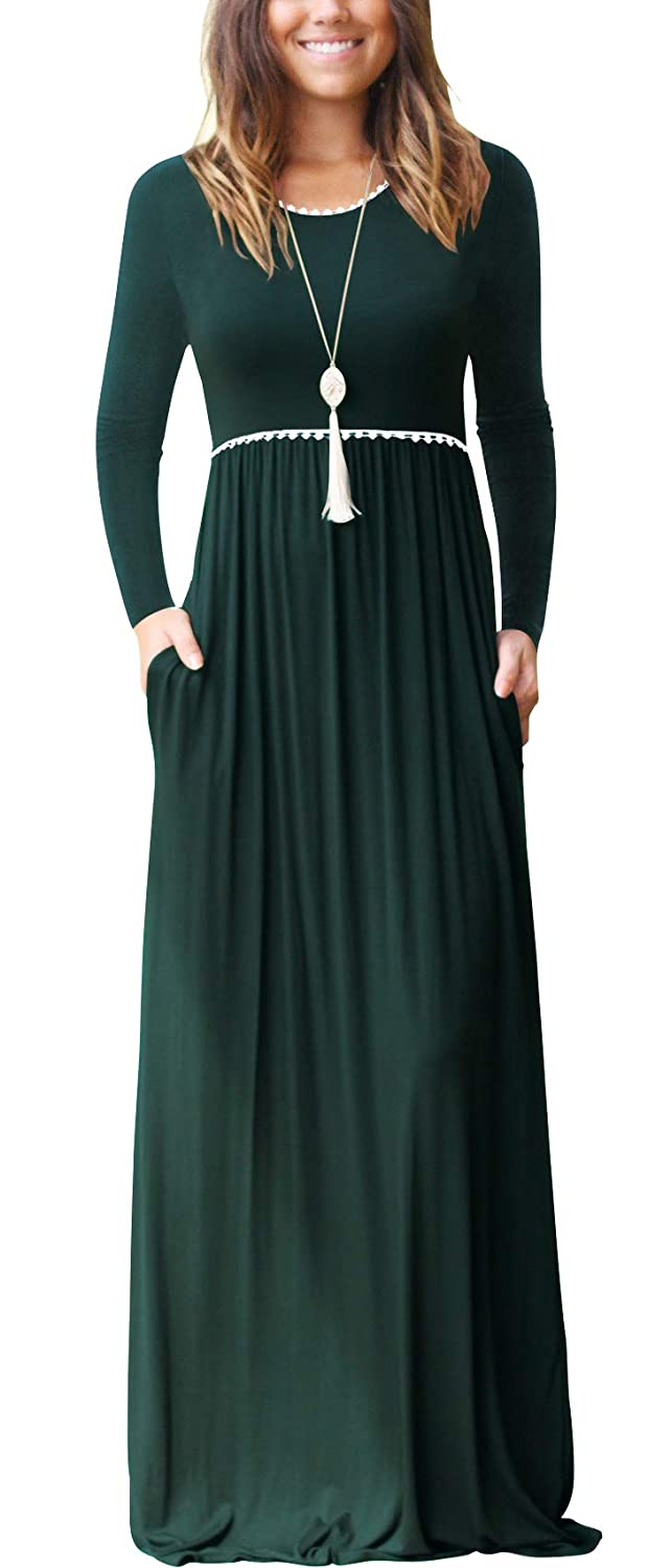 02 Long Sleeve Dark Green WEACZZY Women's Sleeveless Loose Plain Vacation Days Maxi Dresses Casual Long Dresses with Pockets