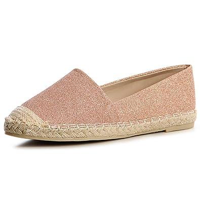 Damen Espadrilles Slipper Loafer Glitzer 1192, Farbe:Rose Gold;Größe:39