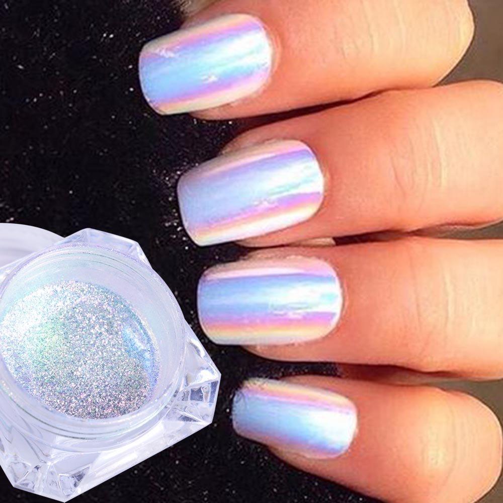 0.5g Neon Unicorn Crystal Nail Glitter Pigment Super Shine Mirror Sequins Nail Art Holographic Chrome Dust QIMEIYA